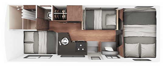 Standard RV Rental Nighttime Floor Plan