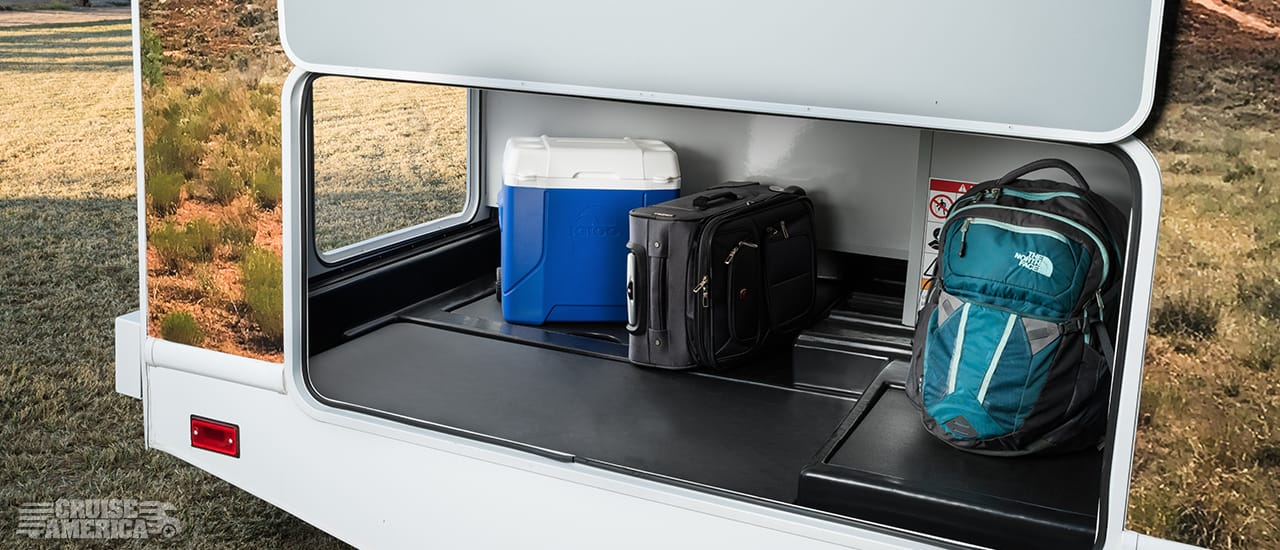 Rear Storage compartment with cooler and luggage